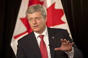 Canadian Prime Minister Stephen Harper responds to a question during an interview in Vancouver, Thursday September 6, 2012. Harper stopped in Vancouver enroute to the APEC Summit in Russia. THE CANADIAN PRESS/Adrian Wyld
