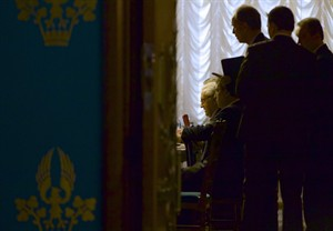 U.N. envoy for Syria Lakhdar Brahimi, center, is seen during his meeting with Russian Foreign Minister Sergey Lavrov, unseen, in Moscow, Russia, on Saturday, Dec. 29, 2012. (AP Photo/Ivan Sekretarev)