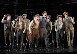 "FILE - In this theater image released by Disney Theatricals, the cast of The Paper Mill Playhouse Production of ""Newsies,"" starring Jeremy Jordan, center right, is shown in New York. Disney Theatrical Productions said Thursday, Dec. 20, 2012, that the musical recouped its $5 million investment in just over nine months, faster than any Disney property. (AP Photo/Disney Theatricals, T. Charles Erickson, File)"