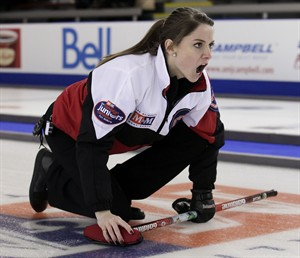 Ontario skip Jamie Sinclair watches her shot during the semi-final match against Manitoba at the M&M Meat Shops Junior Curling Championships in Fort McMurray, Alta., Sunday, Feb.10, 2013. Sinclair lost 10-6 in an extra end. THE CANADIAN PRESS/HO/Michael Burns Photography/Mark O'Neill