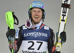 United States' TedLigety reacts after winning the slalom portion of the men's super-combined at the Alpine skiing world championships in Schladming, Austria, Monday, Feb. 11, 2013. (AP Photo/Kerstin Joensson)