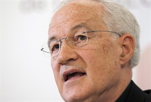 Cardinal Marc Ouellet responds to media at a news conference about his appointment by Pope Benedict XVI as Prefect of the Congregation for Bishops, Wednesday, June 30, 2010 in Quebec City. Ouellet is being touted as among the leading candidates to succeed Pope Benedict. THE CANADIAN PRESS/Jacques Boissinot
