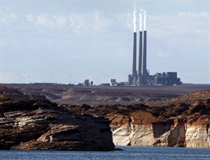 This Sept. 4, 2011 photo shows the main plant facility at the Navajo Generating Station, as seen from Lake Powell in Page, Ariz. THE CANADIAN PRESS/AP, Ross D. Franklin