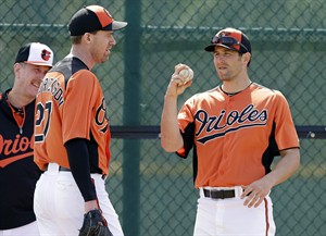 Baltimore Orioles relief pitcher Darren O'Day, right, talks with teammate pitcher Mark Hendrickson, left, during a baseball spring training workout Saturday, Feb. 16, 2013, in Sarasota, Fla. (AP Photo/Charlie Neibergall)