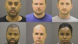 These undated photos provided by the Baltimore Police Department, show Baltimore police officers, top row from left, Caesar R. Goodson Jr., Garrett E. Miller and Edward M. Nero, and bottom row from left, William G. Porter, Brian W. Rice and Alicia D. White, charged with felonies ranging from assault to murder in the police-custody death of Freddie Gray. A grand jury indicted the six officers, State's Attorney Marilyn Mosby said Thursday, May 21, 2015. (Baltimore Police Department via AP, File)