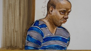 In this artist's sketch, Yosef Gopaul appears in provincial court in Surrey, B.C., on Friday, May 22, 2015. The man accused of second-degree murder in the beating death of British Columbia hockey mom Julie Paskall has pleaded guilty to a lesser charge. Gopaul admitted to manslaughter in the 2013 death of the woman who went to a Surrey arena to pick up her 16-year-old son, who'd been officiating a minor hockey game. THE CANADIAN PRESS/Felicity Don