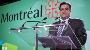Montreal Mayor Denis Coderre addresses the opening session of the Quebec Union of Municipalities annual convention in Montreal on May 21, 2015. Denis Coderre will meet with the commissioner of Major League Baseball in New York today as the Montreal mayor pursues the dream of having the sport return to his city. THE CANADIAN PRESS/Paul Chiasson