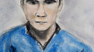 Matthew de Grood is shown in a sketch as he appeared in a Calgary court on Tuesday April 22, 2014. THE CANADIAN PRESS/Janice Fletcher