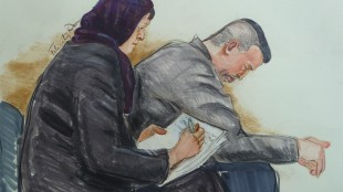 John Nuttall and Amanda Korody, accused of conspiracy to commit murder, placing an explosive in a public place, and possession of an explosive substance, in connection with the alleged plan set for Canada Day 2013, are seen in an artist's sketch at court in Vancovuer on Friday, May 29, 2015. A judge has instructed a jury in the case that motive is key to deciding whether they are guilty of the terrorism allegations. THE CANADIAN PRESS/Felicity Don
