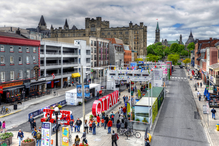 Ottawa, Canada   June 3, 2017: People Check Out Inspiration Village, A  Temporary Attraction With Special Exhibits And Performing Arts Events Built  To Help ...